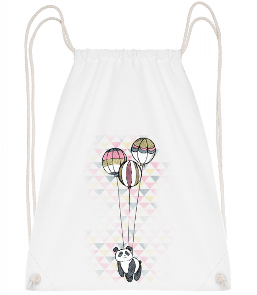 Flying Panda - Drawstring Backpack - White - Vorn