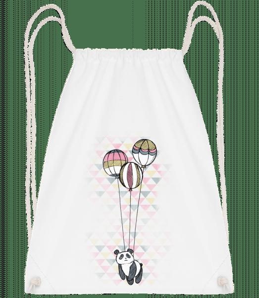 Flying Panda - Drawstring batoh so šnúrkami - Biela - Predné