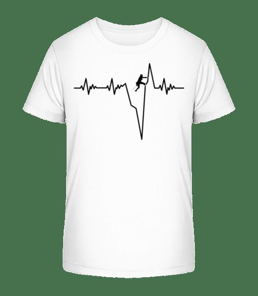 Bouldering Heartbeat - Kid's Premium Bio T-Shirt - White - Vorn