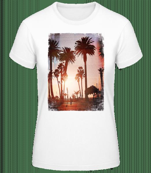 Palm Promenade - Women's Basic T-Shirt - White - Vorn