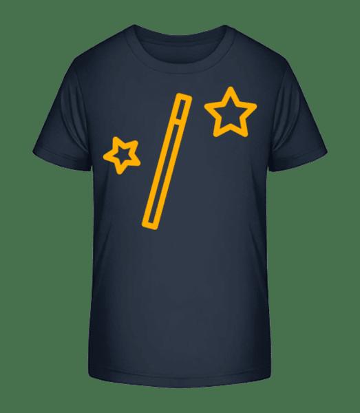 Magic Wand And Stars - Detské Premium Bio tričko - Namornícka modrá - Predné