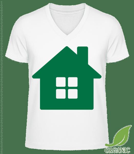 "House Icon Green - ""James"" Organic V-Neck T-Shirt - White - Vorn"