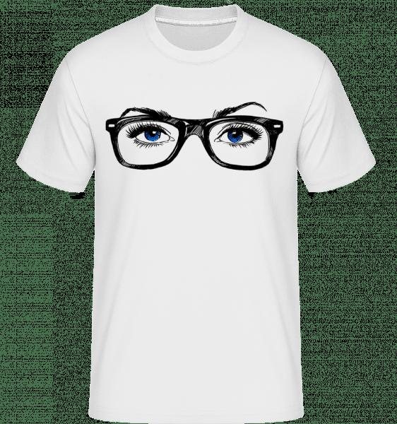 Hipster očí Modrá -  Shirtinator tričko pre pánov - Biela - Predné