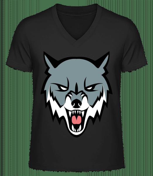 Angry Wolf - Men's V-Neck Organic T-Shirt - Black - Vorn