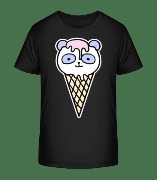 Panda  Ice Creme - Kid's Premium Bio T-Shirt - Black - Front