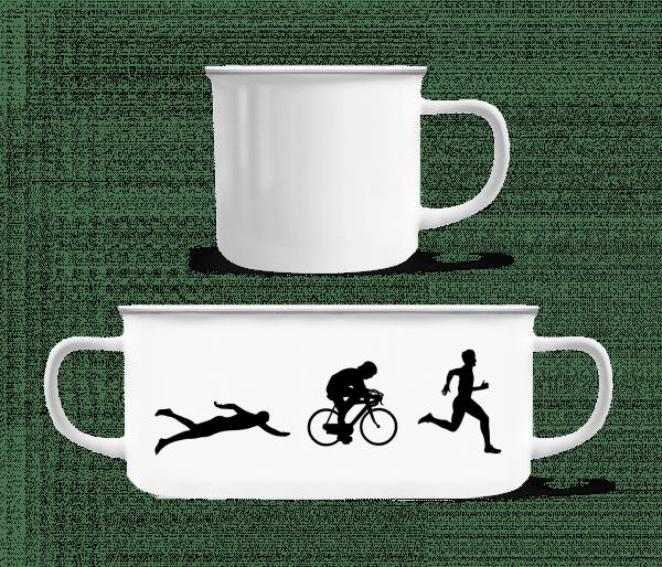 Triathlon - Enamel-cup - White - Vorn