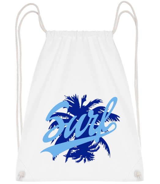 Surf Icon Blue - Drawstring Backpack - White - Vorn