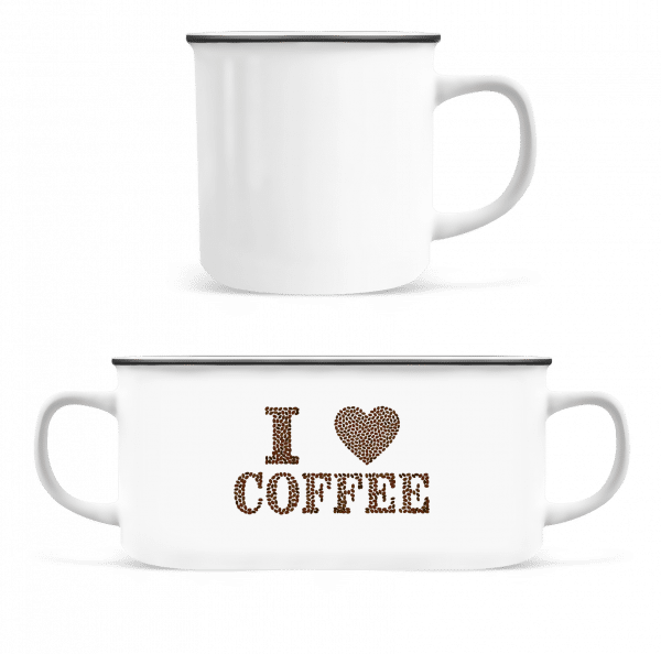 I Love Coffee - Enamel-cup - White - Front