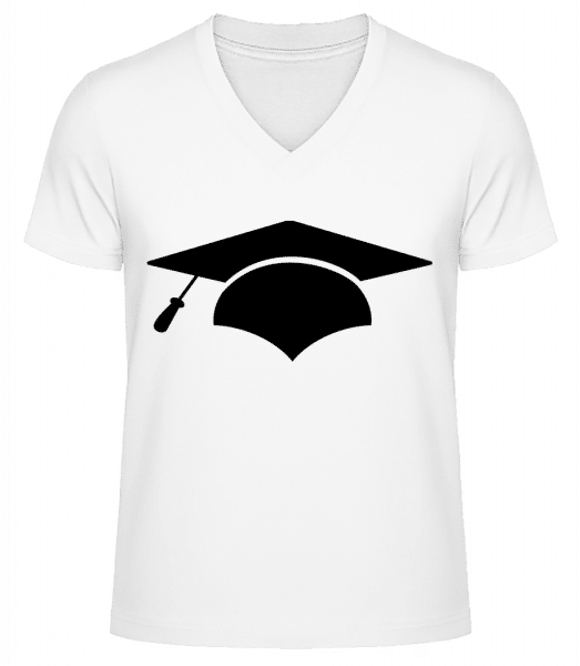 Graduation Cap - Men's V-Neck Organic T-Shirt - White - Vorn