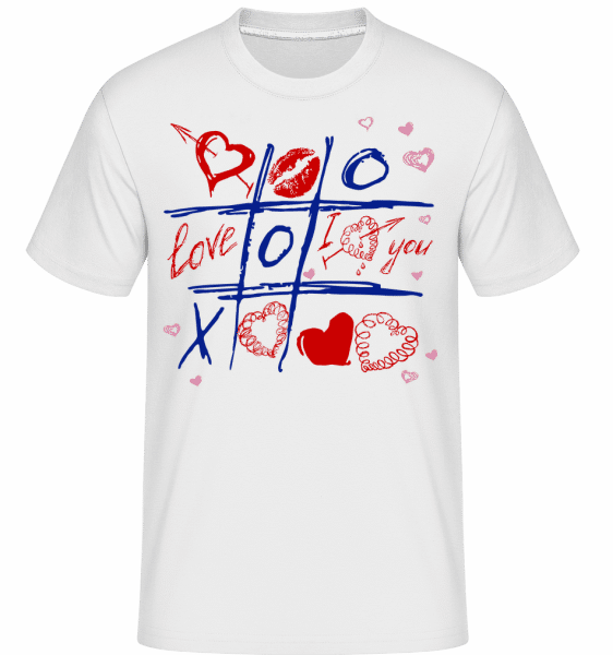 Love Raster Valentine -  Shirtinator Men's T-Shirt - White - Vorn