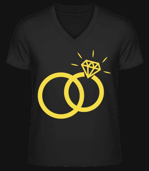 Wedding Rings - Men's V-Neck Organic T-Shirt - Black - Vorn