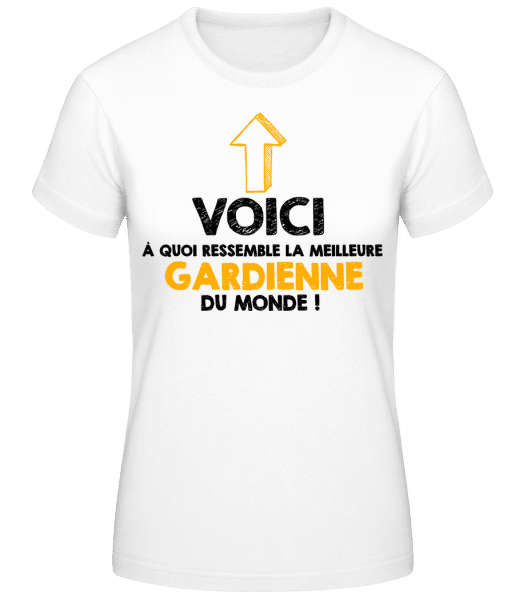La Meilleure Gardienne Du Monde - T-shirt standard Femme - Blanc - Devant