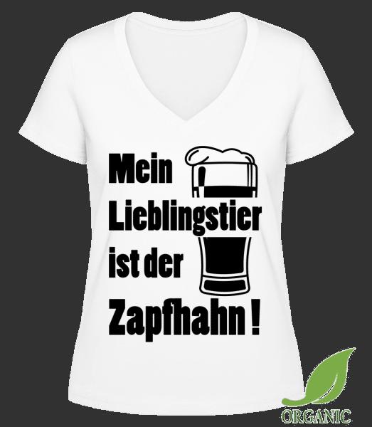 Lieblingstier Zapfhahn - Janet Bio T-Shirt V-Ausschnitt - Weiß - Vorn