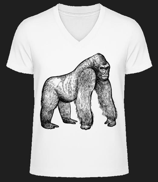 Gimpanse - Men's V-Neck Organic T-Shirt - White - Vorn