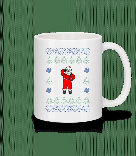 Santa Knitting Pattern - Mug - White - Vorn