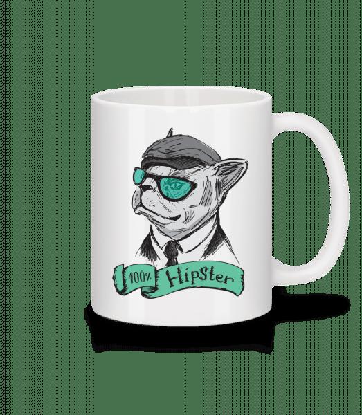 100% Hipster Dog - Mug - White - Front