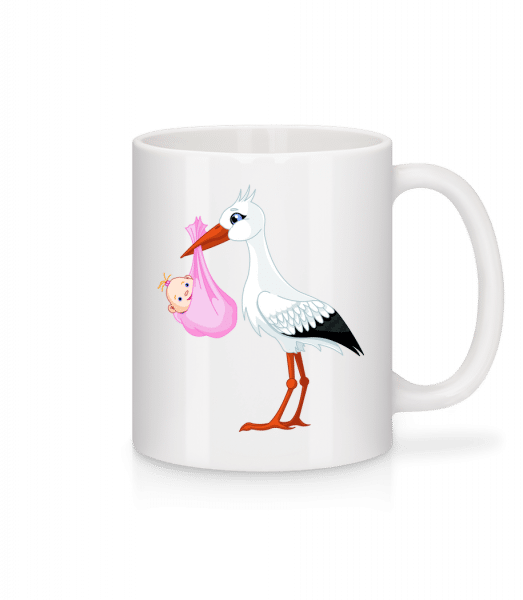 Cigogne Amène Bébé - Mug en céramique blanc - Blanc - Devant