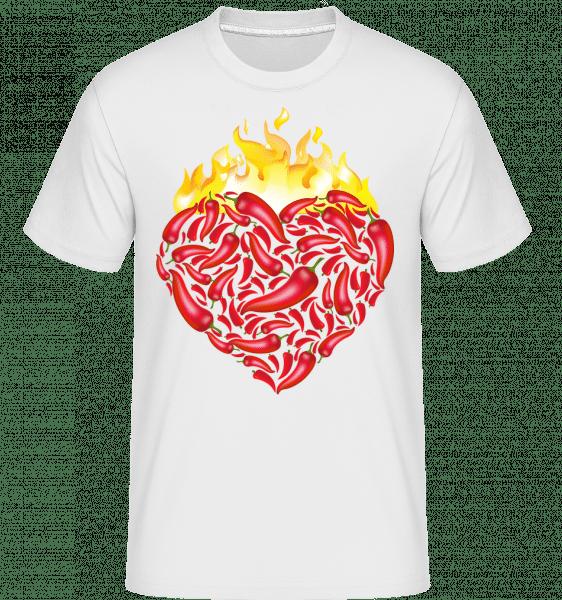 Chili Heart -  Shirtinator Men's T-Shirt - White - Vorn