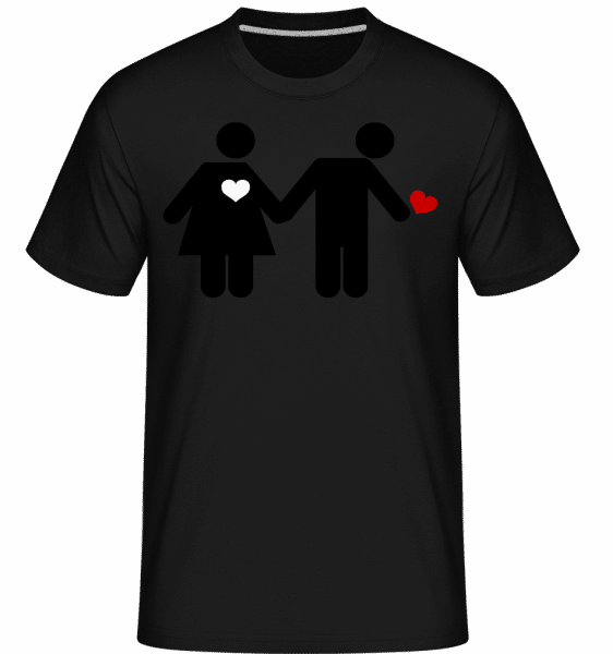 Woman And Man With Heart Logo -  Shirtinator Men's T-Shirt - Black - Front