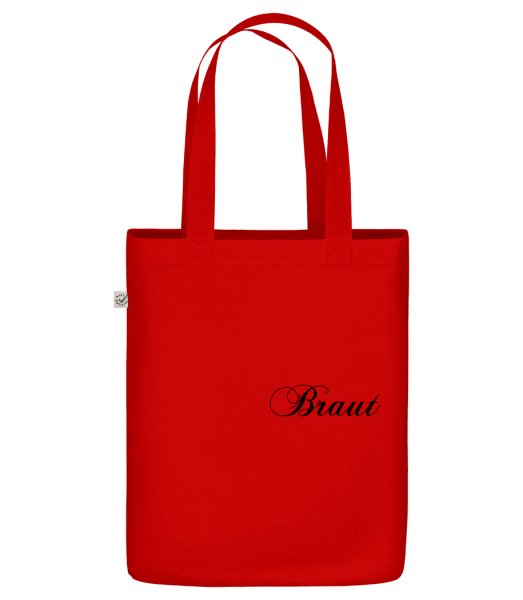 "Bride Icon Red - Organic ""Earth Positive"" tote bag - Red - Front"
