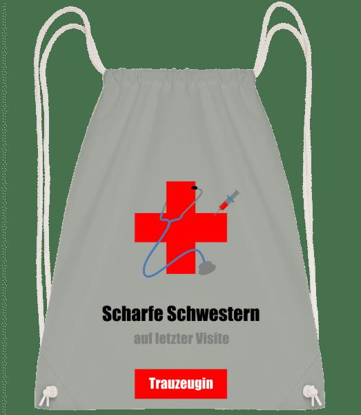 Scharfe Schwestern Trauzeugin - Turnbeutel - Anthrazit - Vorn