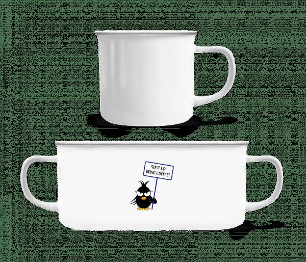 Shut Up Bring Coffee - Enamel-cup - White - Vorn