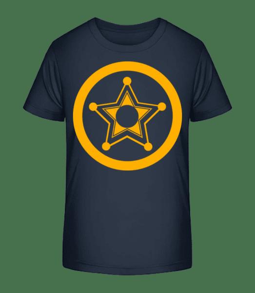 Star Icon Yellow - Kinder Premium Bio T-Shirt - Marine - Vorn