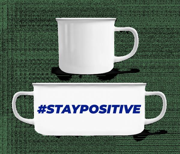 Staypositive - Emaille-Tasse - Weiß - Vorn