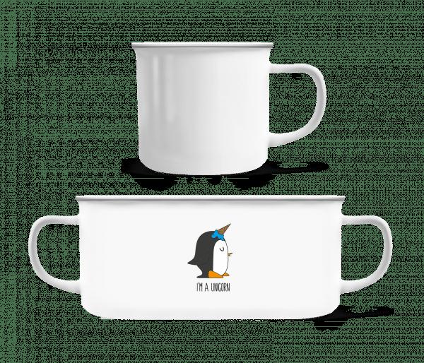 I'm A Unicorn Penguin - Emaille-Tasse - Weiß - Vorn