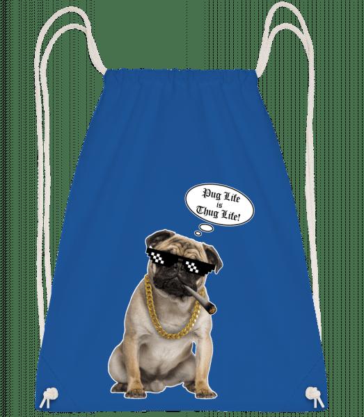 Pug Life Thug Life - Drawstring Backpack - Royal Blue - Vorn
