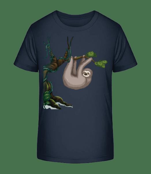 Sloth Hanging On A Tree - Kid's Premium Bio T-Shirt - Navy - Front