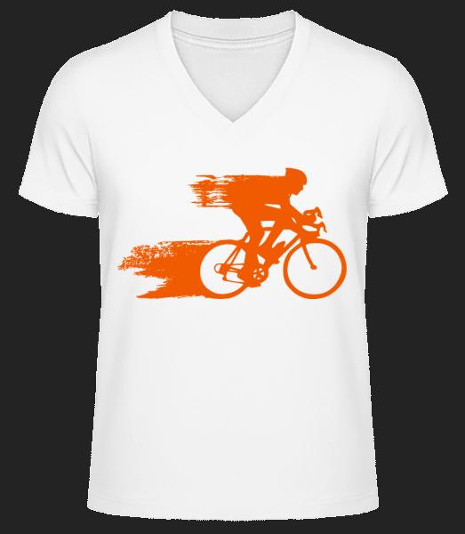 Cyclist - Men's V-Neck Organic T-Shirt - White - Front