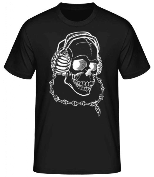 Skull With Headphones - Men's Basic T-Shirt - Black - Front