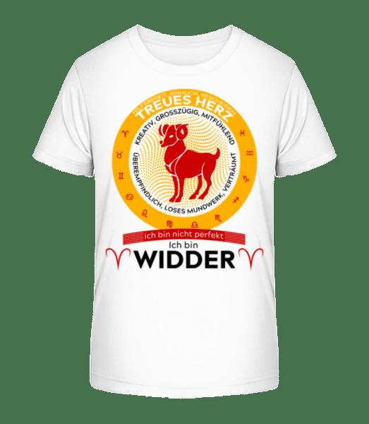 Sternzeichen Widder - Kinder Premium Bio T-Shirt - Weiß - Vorn