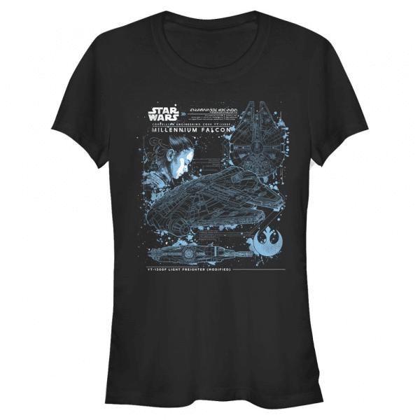 The Falcon Millennium Falcon - Star Wars Last Jedi - Women's T-Shirt - Black - Front
