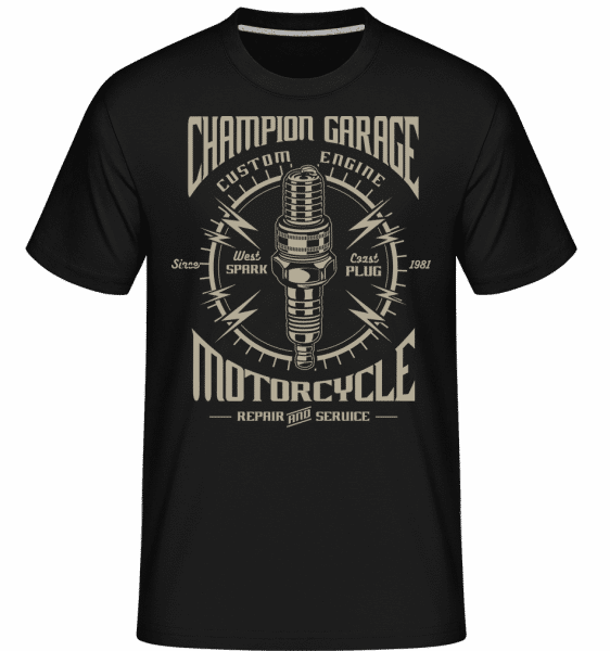 Spark Plug -  Shirtinator Men's T-Shirt - Black - Front
