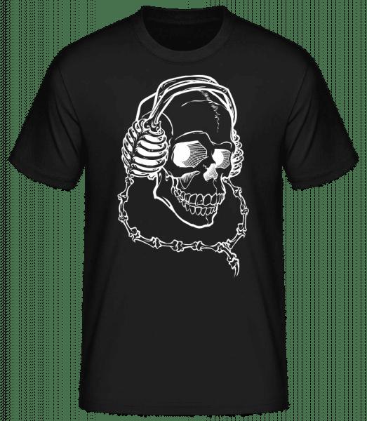Totenkopf Mit Kopfhörern - Basic T-Shirt - Schwarz - Vorn