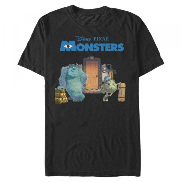 Door Scene Mike & Sulley - Pixar Monster's Inc. - Men's T-Shirt - Black - Front