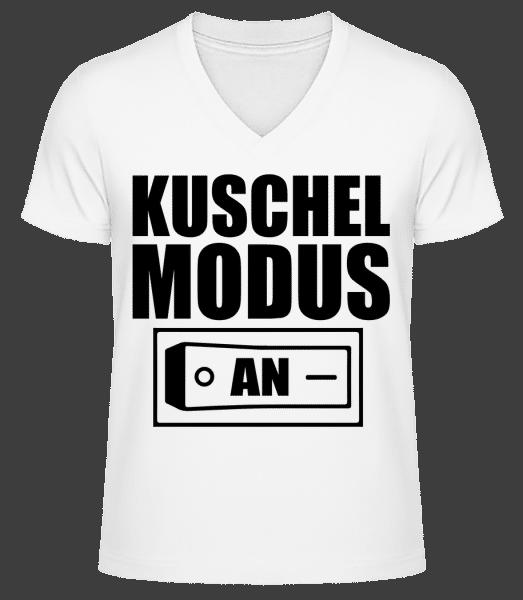 Kuschel Modus An - Männer Bio T-Shirt V-Ausschnitt - Weiß - Vorn