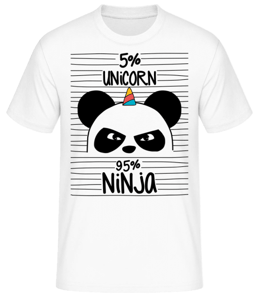 5% Unicorn 95% Ninja - Basic T-Shirt - Weiß - Vorn