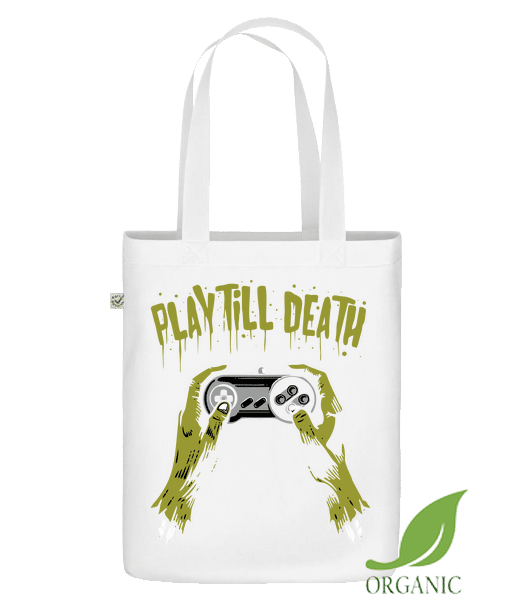 "Play Till Death - Organic ""Earth Positive"" tote bag - White - Vorn"