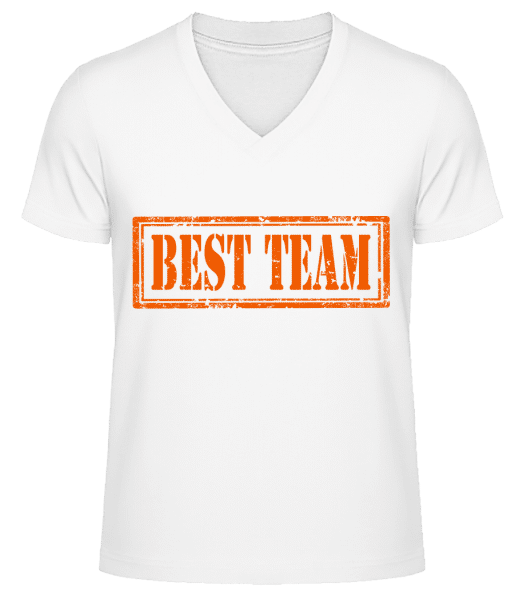 Best Team Sign - Men's V-Neck Organic T-Shirt - White - Vorn