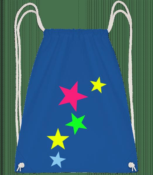 Colorful Stars - Drawstring Backpack - Royal Blue - Vorn