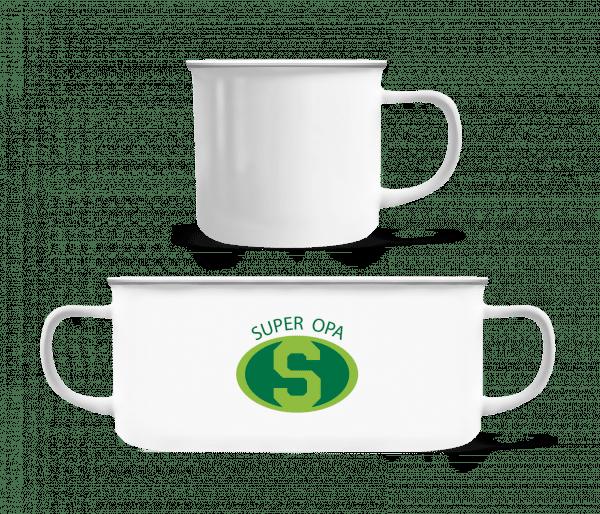 Super Opa - Emaille-Tasse - Weiß - Vorn
