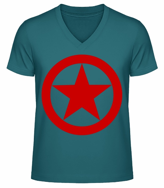 Star In Circle Logo - Men's V-Neck Organic T-Shirt - Petrol - Vorn