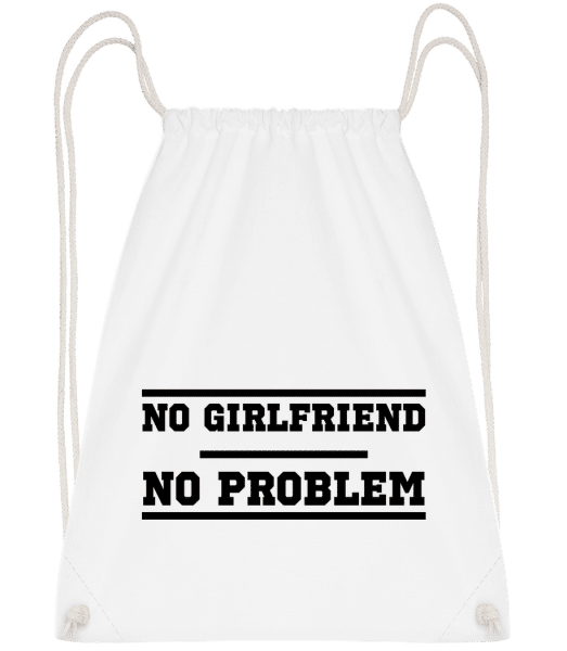 No Girlfriend No Problem - Drawstring Backpack - White - Vorn