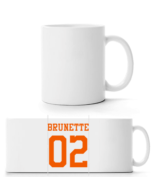 Brunette 02 - Panorama Mug - White - Vorn