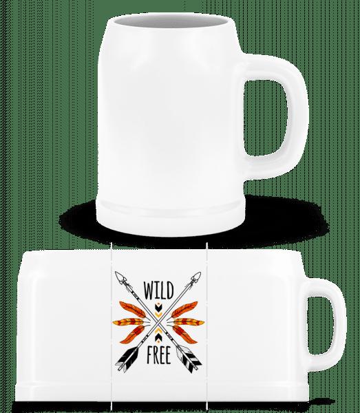 Wild And Free Logo - Beer Mug - White - Vorn