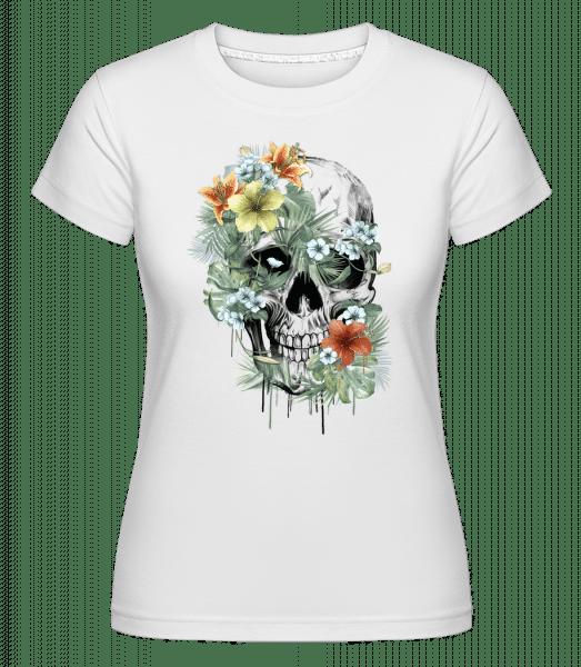 Flower Skull -  Shirtinator Women's T-Shirt - White - Vorn