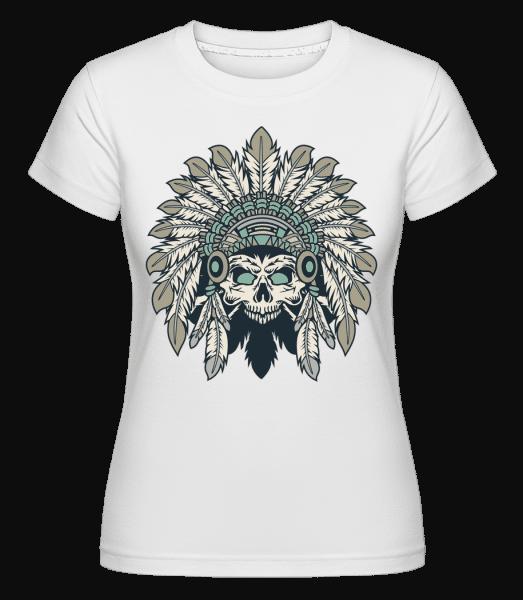 Indian Headdress Skull -  Shirtinator Women's T-Shirt - White - Vorn